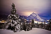 Wintry night on Stoney Squaw, Banff National Park, Alberta, Canada.