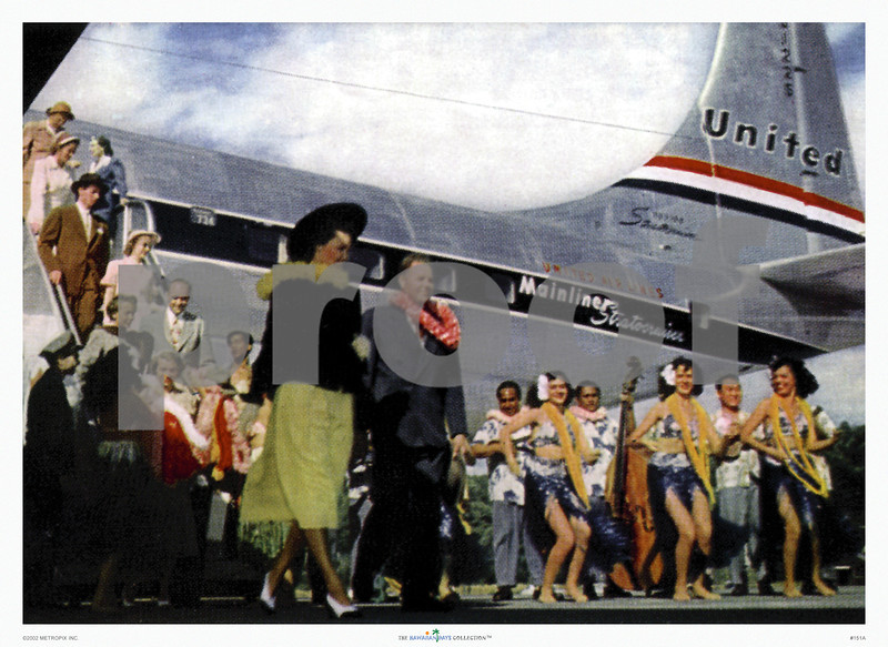151: Arrival in Honolulu. United Airlines Stratocruiser Postcard image from ca 1952. (PROOF watermark will not appear on your print)