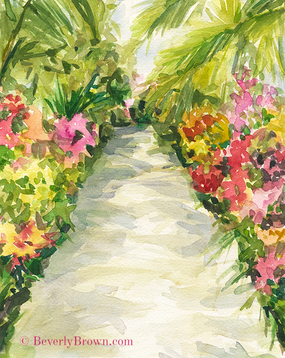 New York Botanical Garden Orchid Show - Colorfu impressionist watercolor garden wall art by Beverly Brown - Available in a range of sizes, materials and framing options at www.beverlybrown.com