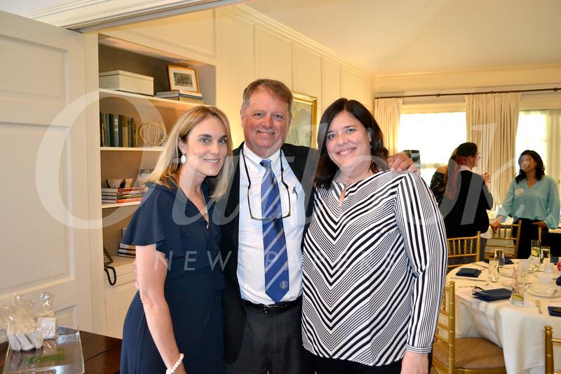 Outgoing Parents' Association President Karen Limongelli, Headmaster Joe Gill and incoming President Kristin Cook