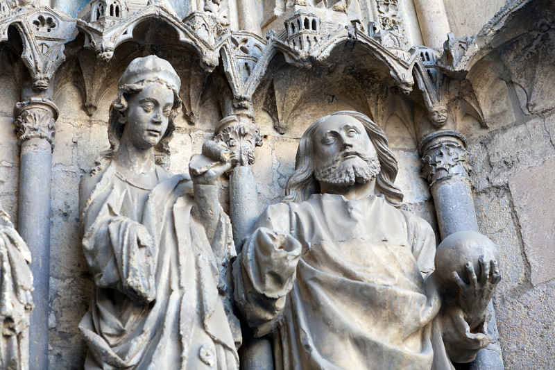 Gothic sculptures, western facade, Cathedral, town of Leon, autonomous community of Castilla y Leon, northern Spain