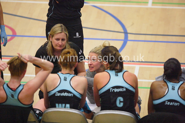 Tamsin Greenway during  Surrey Storms 63 v 42 win against Hertfordshire Mavericks at Surrey Sports Park on the 29 April 2013 (ImagesGB)