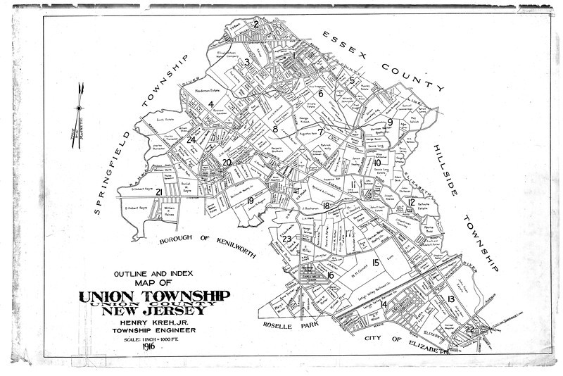 1916 Tax Map indicating the property boundaries and the owners. Several streets in existence today bear the land owners' names. This map can be downloaded and enlarged in order to study the details.