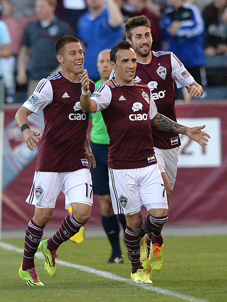 . COMMERCE CITY, CO - MAY 3:  Colorado forward Vicente Sanchez celebrated what would hold up as the game winning goal in the first half. The Colorado Rapids defeated the Los Angeles Galaxy 1-0 Saturday night, May 3, 2014 at Dick\'s Sporting Good Park. (Photo by Karl Gehring/The Denver Post)