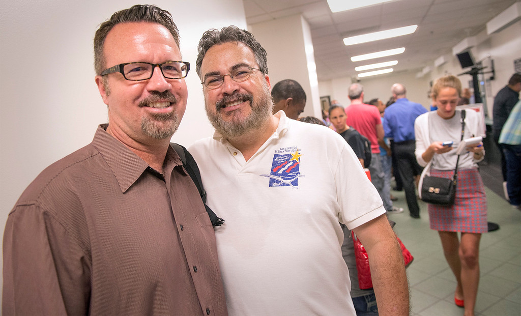. Dennis Coppens, 50, left, and Michael Sturges, 51, of Whittier wait in line to receive their marriage license at the Los Angeles County Registrar-Recorder/County Clerk office in Norwalk, Ca. July 1, 2013.   (SGVN staff photo by Leo Jarzomb)