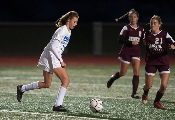 10/29/18 Wesley Bunnell | Staff Bristol Central girls soccer hosting Bristol Eastern on Monday evening. Ciara Collins (11).