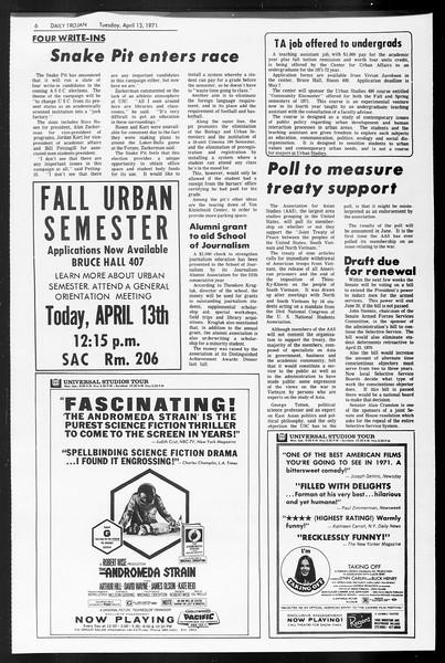 Daily Trojan, Vol. 62, No. 102, April 13, 1971