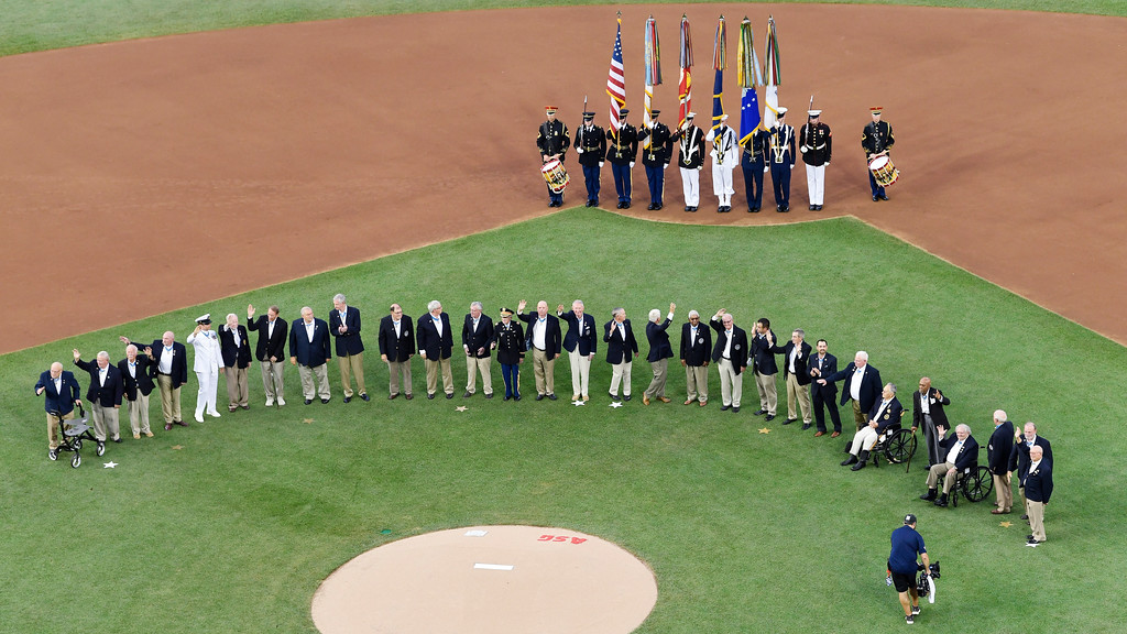 . Medal Of Honor winners are introduced before the Major League Baseball All-star Game, Tuesday, July 17, 2018 in Washington. (AP Photo/Susan Walsh)