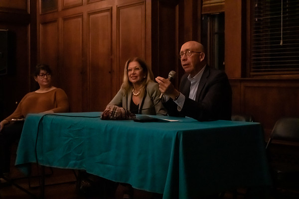 From left, moderator and political science student Alexandra Barbat, Sarasota City Commissioner Liz Alpert and City Manager Tom Barwin participate in a panel discussion Nov. 13 on topics including civic participation and local government.