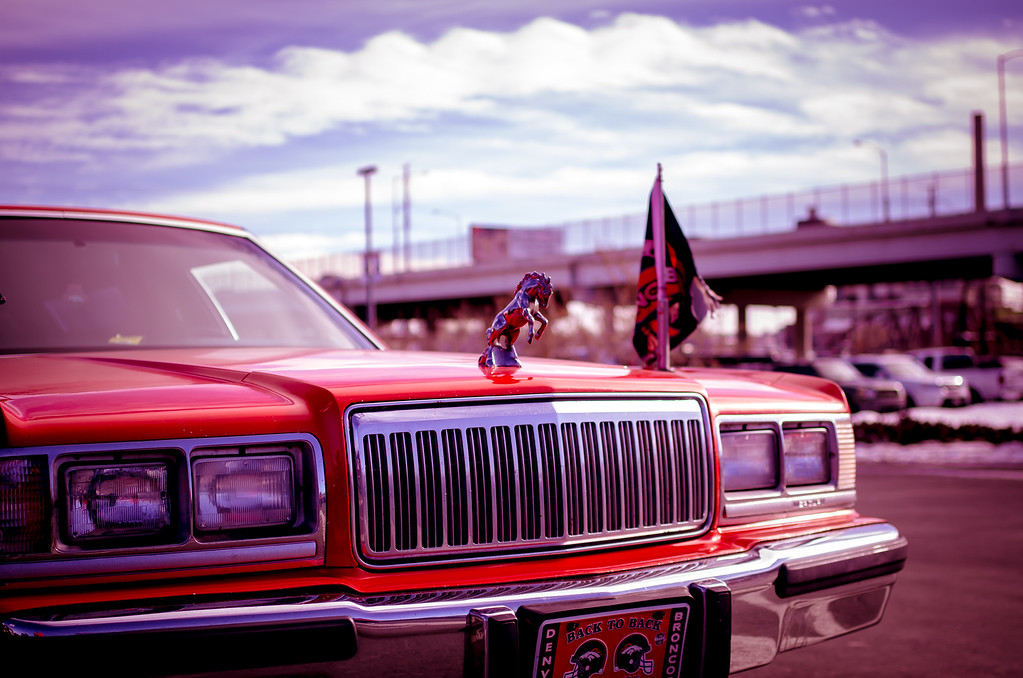 . A Denver Broncos inspired limousine during pre-game festivities on November 25, 2012. Photo by Jeremy Nix