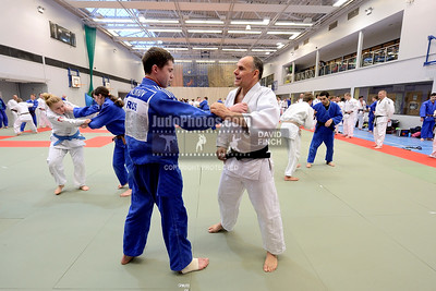 2013 Tonbridge Judo Training Camp 131220A5458: Russian coach, Ezio Gamba (white), coaches Pavel Malakhov of Russia during the Tonbridge Internatio....