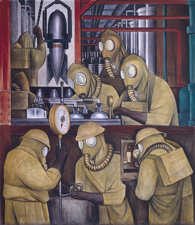 . Detroit Industry, north wall (detail), Diego Rivera, 1932-33, fresco. Detroit Institute of Arts (poison gas bombs manufacture)