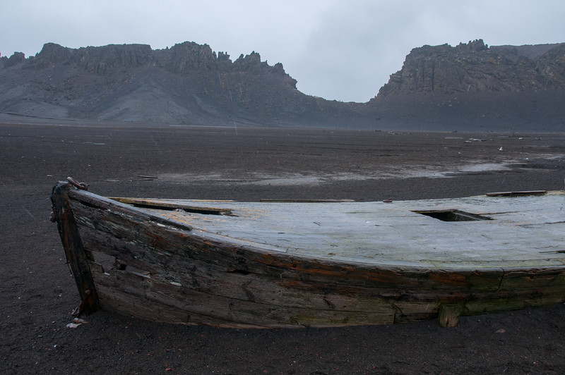 Abandoned whaling boat in Deception Island, Antarctica