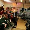 "BBc Newsline's Chris Bulter pictured which pupils from, Banbridge Academy, St Paul's High school Bessbrook and Sacred Heart G.S. Newry during the ""i generation"" feature which appeared on our screens on Wednesday last. 06W48N6"
