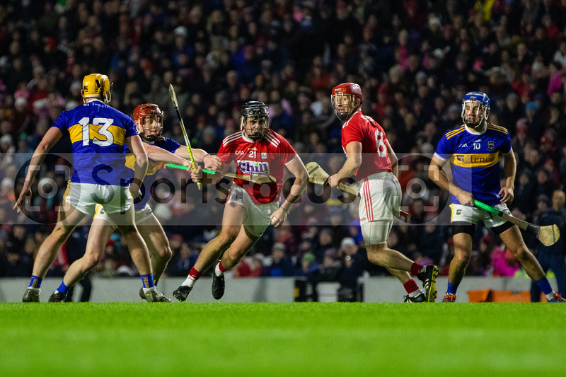 Cork's Darragh Fitzgibbon and Bill Cooper in action against Tipperary's Mark Kehoe, Jerome Cahill and John McGrath