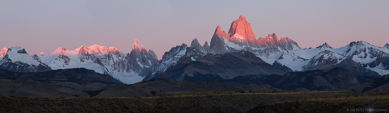 Panoramic shot of the Mount Fitz Roy range at sunrise in Patagonia, Argentina