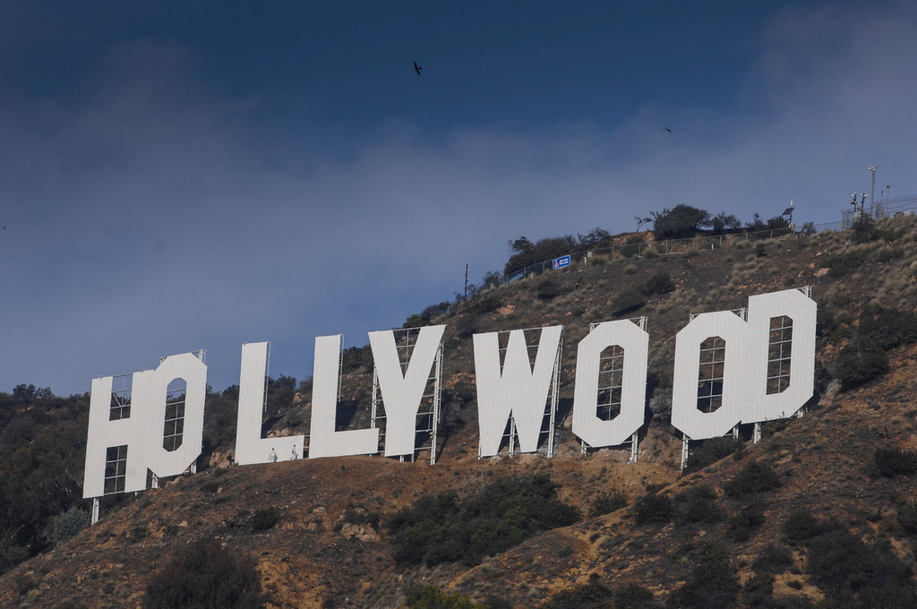 . The repainting of the Hollywood sign is now complete.   (David Crane/Los Angeles Daily News)