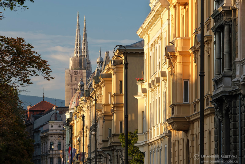 View of buildings along Strossmayer Square in downtown Zagreb, Croatia.