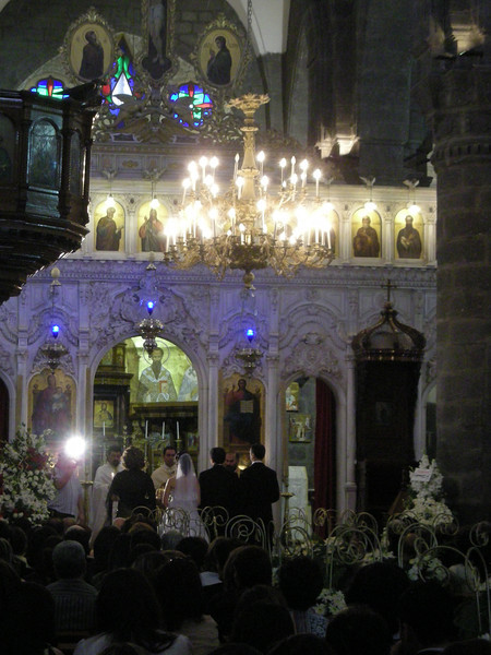 at a Greek Orthodox Catholic Church wedding in the Christian Quarter, old Damascus.  2 May 09