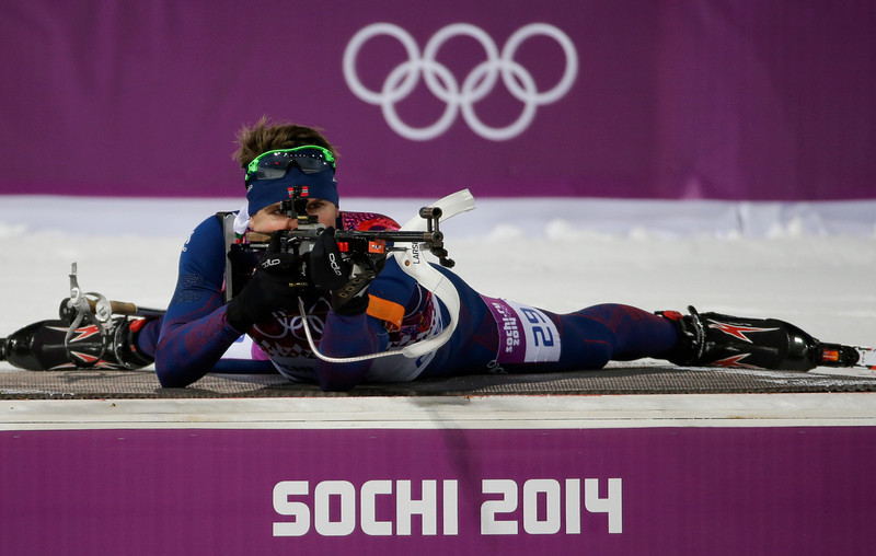 . Norway\'s Emil Hegle Svendsen shoots during the men\'s biathlon 10k sprint, at the 2014 Winter Olympics, Saturday, Feb. 8, 2014, in Krasnaya Polyana, Russia. (AP Photo/Gero Breloer)