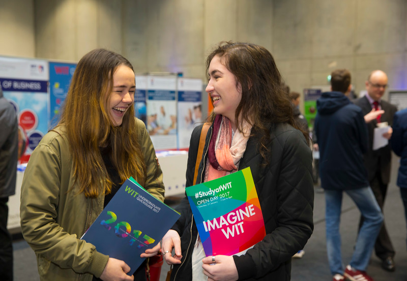 "21/01/2017.  Waterford Institute of Technology (WIT) open day at WIT Arena. Pictured are Clodagh O""Doherty and Robyn Halligan from Waterford. Picture: Patrick Browne"