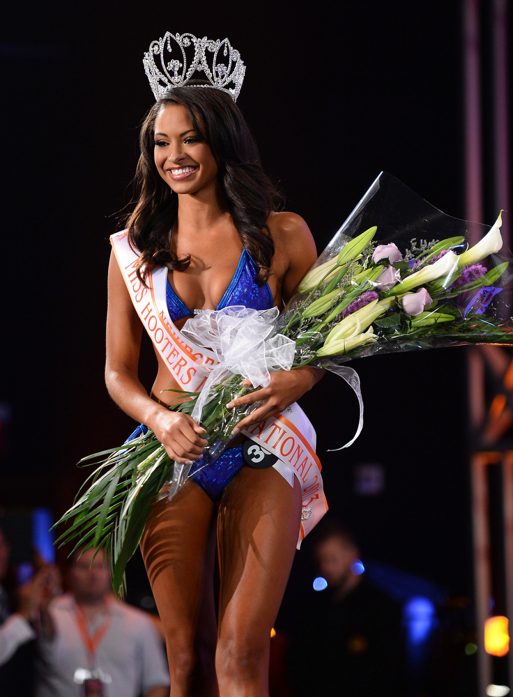 . Marissa Raisor of Newport, Kentucky appears after being crowned Miss Hooters International 2013 at the 17th annual Hooters International Swimsuit Pageant at The Joint inside the Hard Rock Hotel & Casino on June 27, 2013 in Las Vegas, Nevada.  (Photo by Ethan Miller/Getty Images)