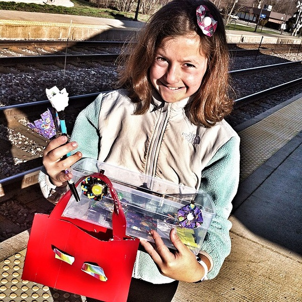 Sellin' duct tape pens and such to raise money for Orphans of the Storm at the train station this am. #latergram