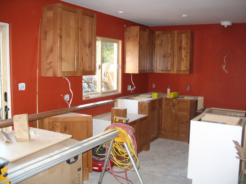 Nothing ever comes off without a hitch, and the kitchen was no exception. The cabinets at the sink weren't properly centered under the window and had to be adjusted, and the light over the eating area table had to be swagged. Not a great big deal, but not ideal, either.