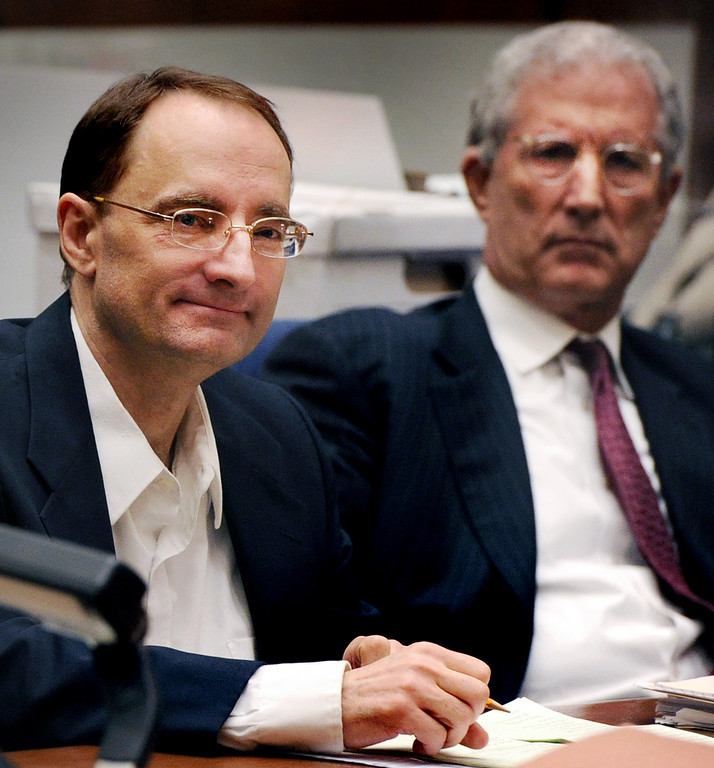 """. Gerhartsreiter attorney\'s Jeffrey Denner, right, at the murder trial of Christian Gerhartsreiter, 52,  known as \""""Clark\"""" Rockefeller, second day at trial at Clara Shortridge Fortz Criminal Justice Center in Los Angeles on Wednesday, March 20, 2013.  Gerhartsreiter is a German immigrant who masqueraded as a member of the Rockefeller family. He is charged with murder of John Sohus, 27, whose bones were unearthed from the backyard of the home in San Marino, California, in 1985.  Sohus\' wife, Linda, has never been found. (SGVN/Photo by Walt Mancini/LANG)"""