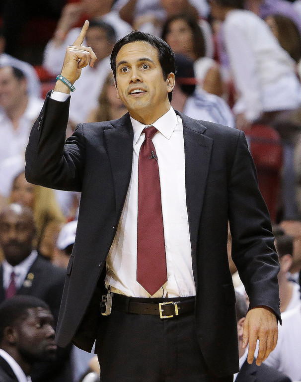 . Miami Heat head coach Erik Spoelstra speaks to players against the Indiana Pacers during the first half of Game 7 in their NBA basketball Eastern Conference finals playoff series, Monday, June 3, 2013 in Miami. (AP Photo/Lynne Sladky)