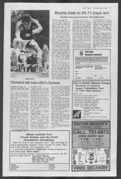 Daily Trojan, Vol. 88, No. 58, May 05, 1980