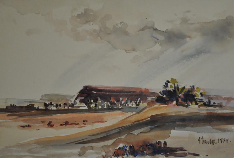 13X14 Watercolor sketch of rocky platforms somewhere in Arizona,  New Mexico desert. Ala Prima, Plein Aire