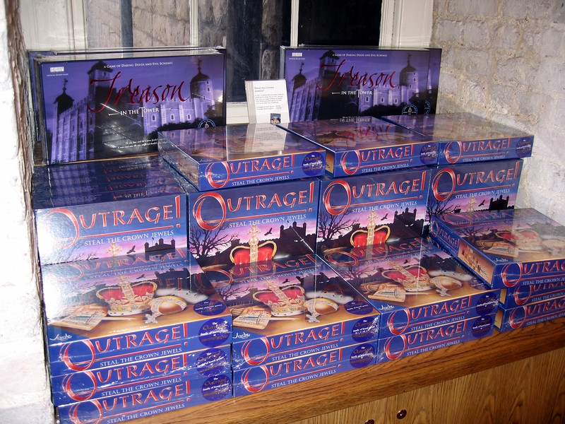 The Jewel House gift shop confidently sells the game Outrage!, the goal of which is to steal the Crown Jewels.