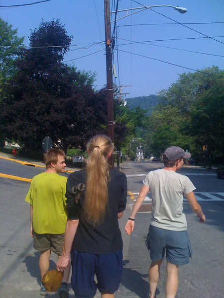 Hikers on Main Street