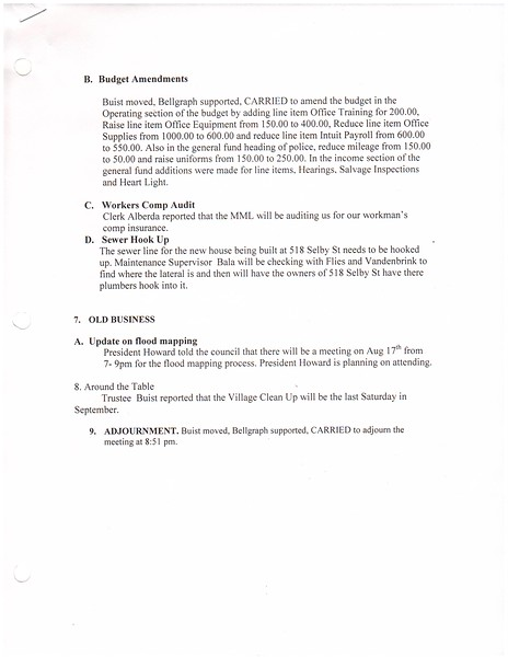 Aug 2016 Meeting Minutes