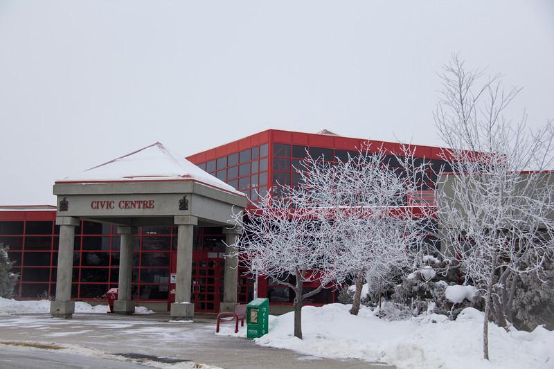 Leduc Civic Centre Front Entrance in Winter