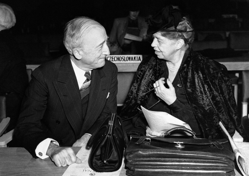 . 1946: James F. Byrnes. Mrs. Eleanor Roosevelt has a heart-to-heart chat with Secretary of State James F. Byrnes at the UNO General Assembly session in London, Jan. 17, 1946. (AP Photo)