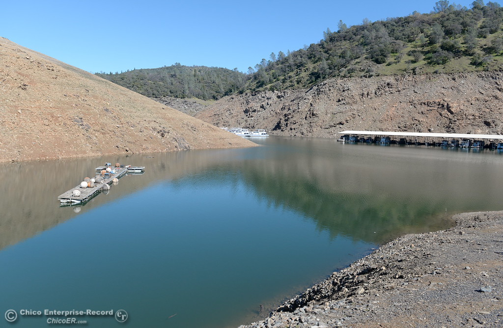 . Lake levels remain low at Lake Oroville seen here at Lime Saddle Marina in Paradise, Calif. Monday March 5, 2018. (Bill Husa -- Enterprise-Record)