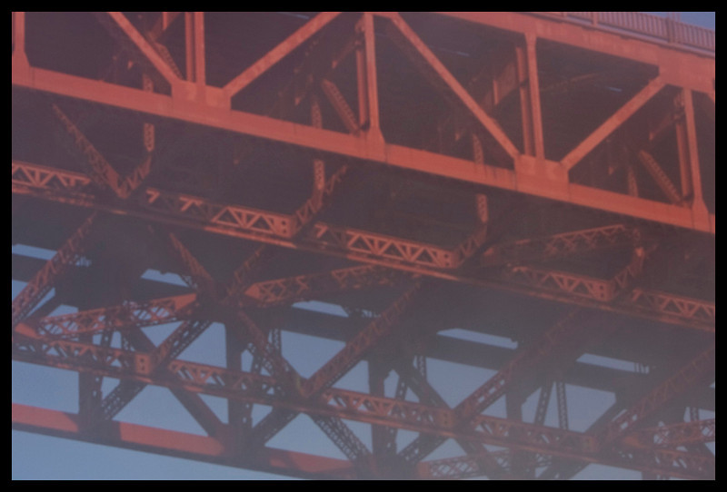 and out we pass, under a foggy, yet still Golden Gate Bridge
