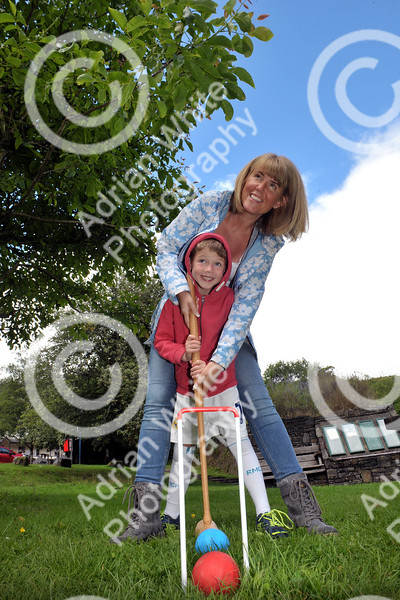 The Brecon Beacons National Park open invitation to join in its 60th Anniversary celebrations at Party in the Park at Craig-y-nos Country Park.  Sarah Norris and her son Jacob aged 6 practising their ball skills on the croquet lawn, Craig-y-nos Country Park.