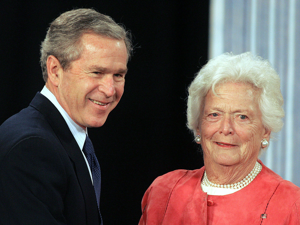 . President  Bush, left, with his mother Barbara Bush smile during their visit to Pensacola Junior College to talk about Social Security, Friday, March 18, 2005, in Pensacola, Fla. (AP Photo/Phil Coale)
