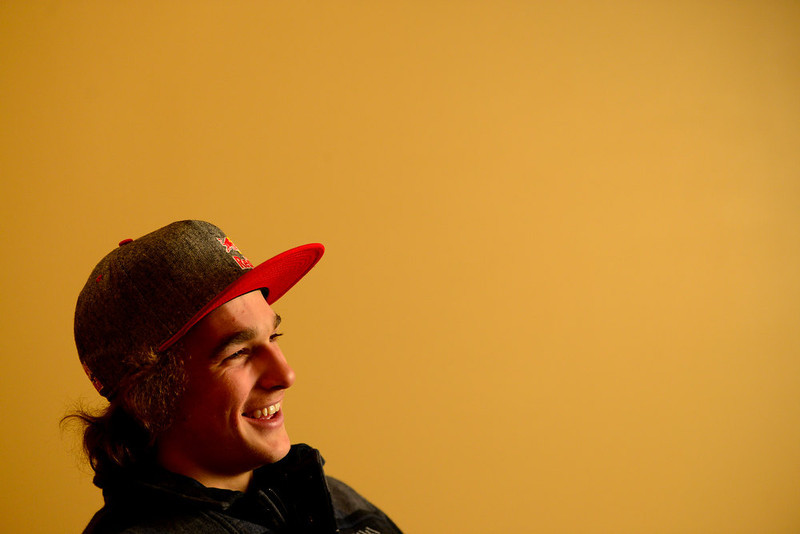 . ASPEN, CO. - JANUARY 23: Defending men\'s snowboard slopestyle silver medalist Nick Groepper during an interview. X Games 17 Sky Hotel Aspen January 23, 2013 (Photo By AAron Ontiveroz / The Denver Post)