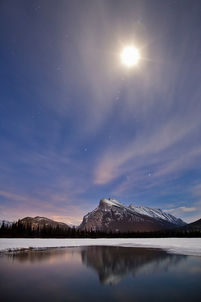 """Orion, Rundle and Moon"", Vermilion Lakes, Banff National Park, Alberta, Canada."
