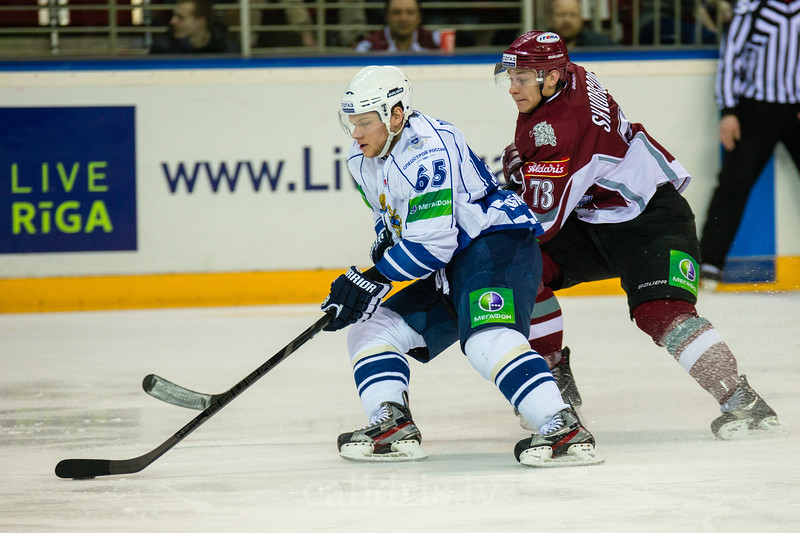 Poleshchuk Anton (65) and Gunars Skvorcovs (73) in the first game during final series of Nadezhda Cup between Dinamo Riga and Amur Khabarovsk In Arena Riga
