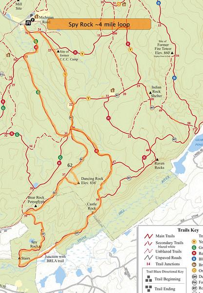 Spy Rock Loop course (~4 miles).