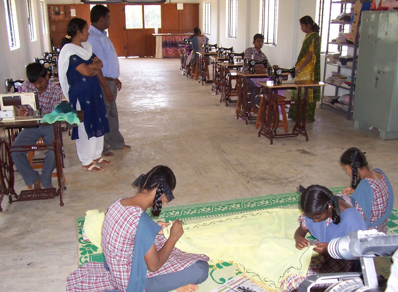 Deaf students learning a simple trade: sewing/tailoring, creative needle work and bead work