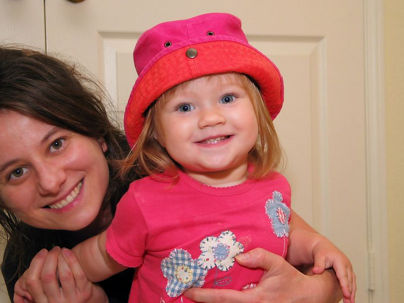 8/6 - It's very rare that she lets us put a hat on her. She took it off after the photo...