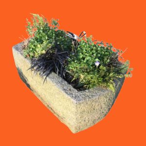 INDIAN GRANITE STONE TROUGH PLANTER (Ø79CM)