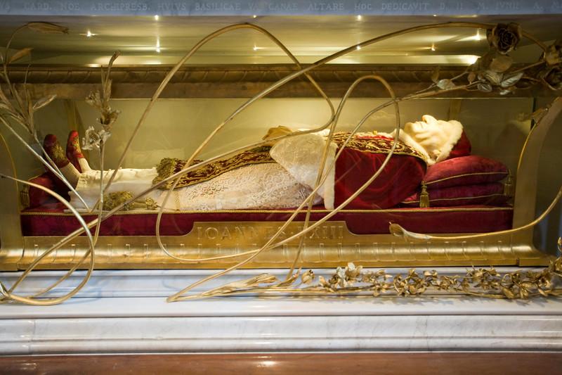 The body of the pope John XXIII, preserved in Saint Peter's Basilica, Vatican