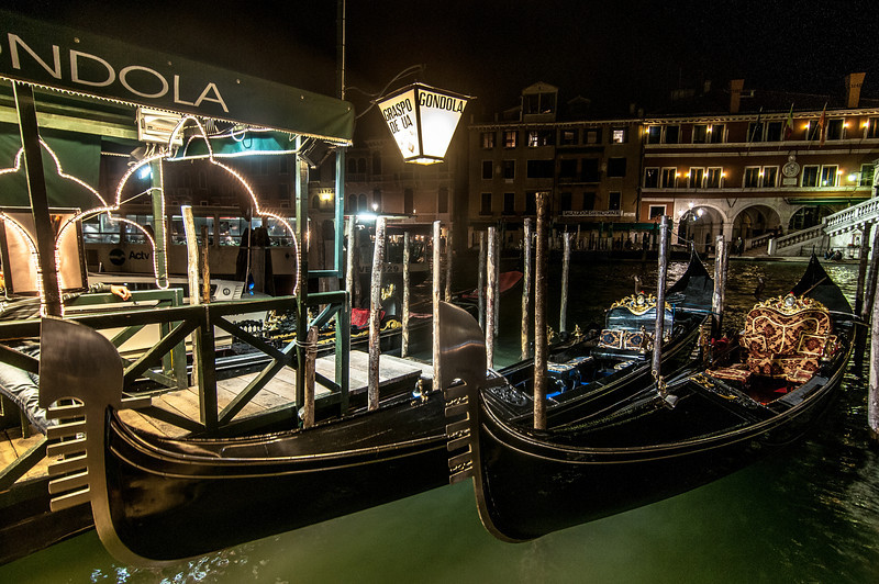 Gondolas parked at Venice, Italy